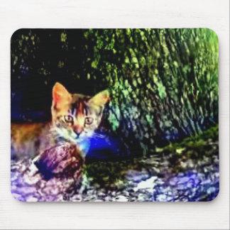 Cat on Oak Roots Mouse Pad