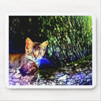 Cat on Oak Roots Mouse Pads