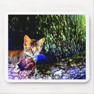 Cat on Oak Roots Mouse Pads