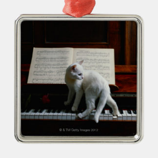 Cat on piano christmas ornament