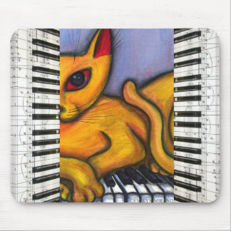Cat on Piano Keyboard Mouse Mat
