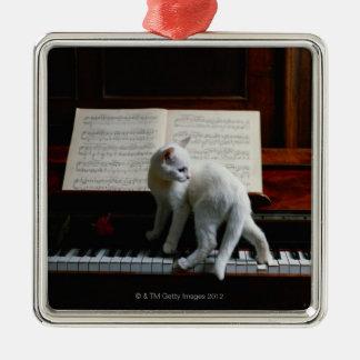 Cat on piano Silver-Colored square decoration