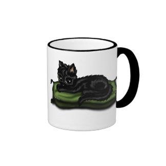 cat on pillow ringer mug