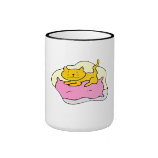 Cat On Pillow Coffee Mugs