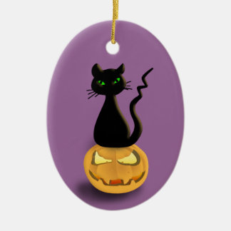 Cat on Pumpkin Halloween Hanging Ornament