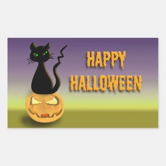 Cat on Pumpkin Happy Halloween stickers