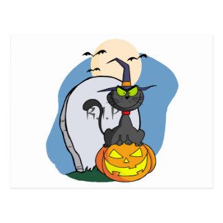 Cat on Pumpkin Near Tombstone And Bats A Full Moon Postcard