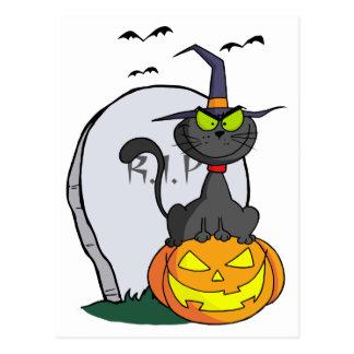 Cat on Pumpkin Near Tombstone And Bats Postcard