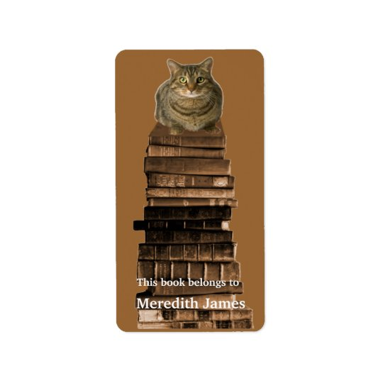 Cat on Stack of Books  Bookplate Label