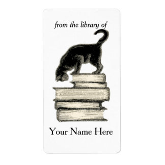 Cat on Stack of Books of Bookplate .. Shipping Label
