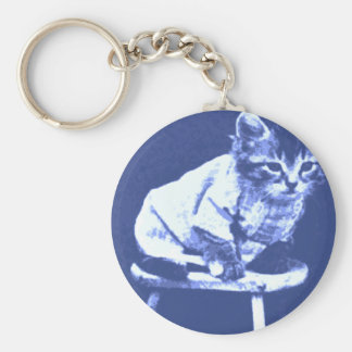 Cat on stool wearing a sweater basic round button key ring