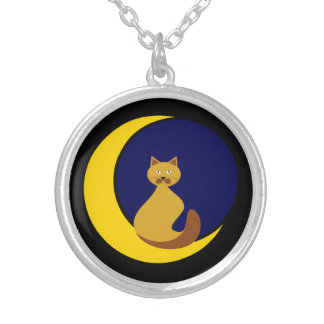 Cat on the Moon Silver Plated Necklace