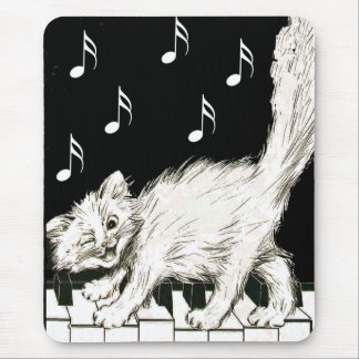 Cat on the Piano Keys Mouse Mat