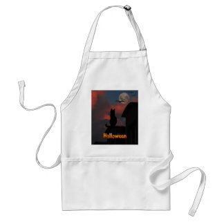 Cat on the roof with a full moon Halloween Adult Apron