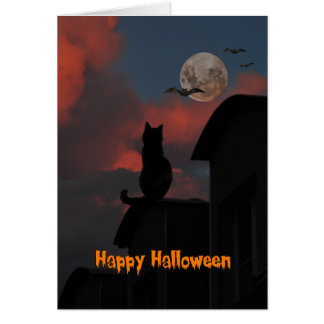 Cat on the roof with a full moon Halloween Greeting Card