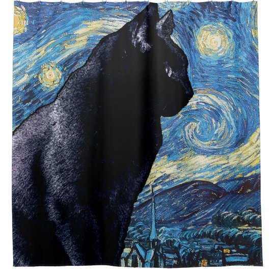 Cat on the Window Sill:  Starry Night Shower Curtain