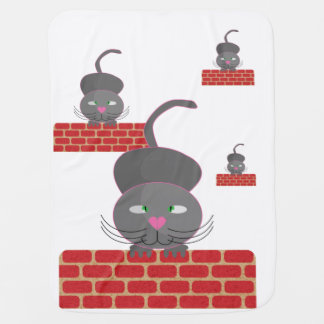 cat on wall baby blanket