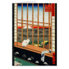 Cat on Window with View of Mt Fuji by Hiroshige Card