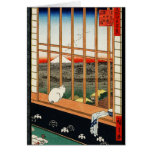 Cat on Window with View of Mt Fuji by Hiroshige Greeting Card