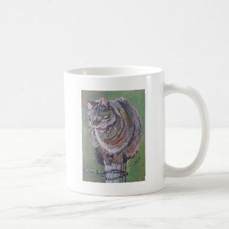 Cat ona pole basic white mug