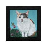 Cat Original Oil Painting by Joanne Casey Keepsake Box