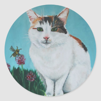 Cat Original Oil Painting by Joanne Casey Round Sticker