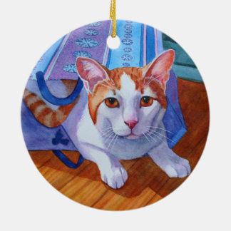 Cat out of the Bag Round Ceramic Decoration