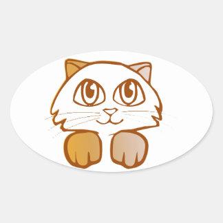 Cat Oval Sticker