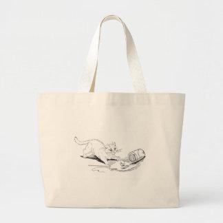 Cat Overturns Fish Jar Jumbo Tote Bag