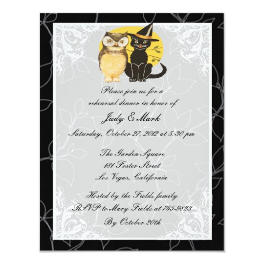 Cat & Owl Halloween Rehearsal Dinner Invitation