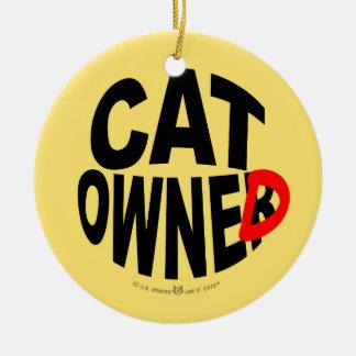 Cat Owner... er, Owned Round Ceramic Decoration
