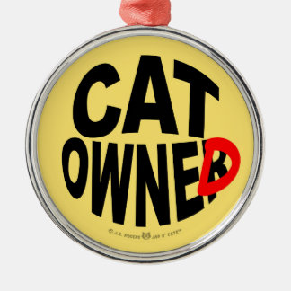 Cat Owner... er, Owned Silver-Colored Round Decoration