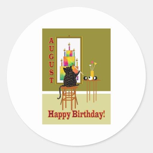 Cat Painting Birthday Cake AUGUST Round Stickers
