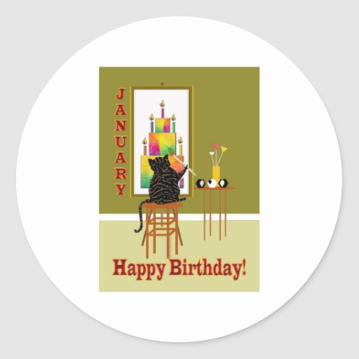 Cat Painting Birthday Cake January Sticker