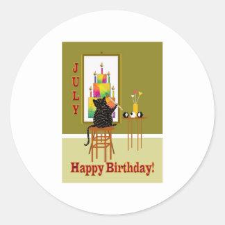 Cat Painting Birthday Cake JULY Round Sticker