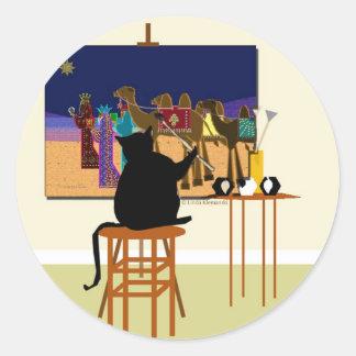 cat Painting Magi Round Sticker