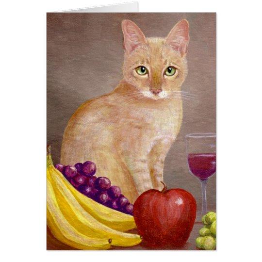 Cat Painting Still Life Wine Creationarts Card