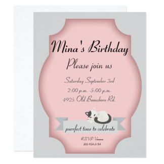 cat party 11 cm x 14 cm invitation card