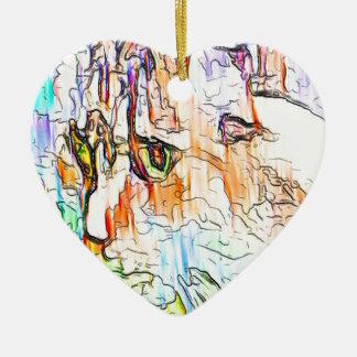 Cat Pastel Ceramic Heart Decoration