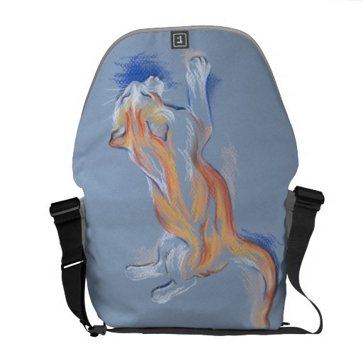 Cat Pastel Orange and White Tabby on Blue Commuter Bags