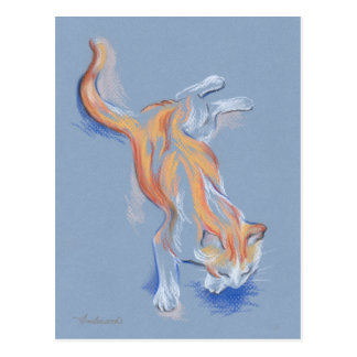 Cat Pastel Orange and White Tabby on Blue Postcard