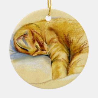 Cat Pastel - Orange Tabby Relaxed Pose Round Ceramic Decoration