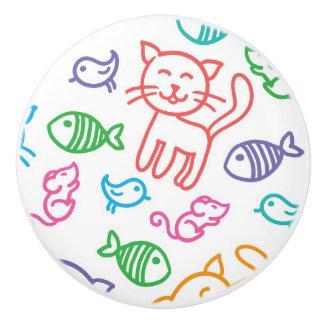 cat pattern ceramic knob