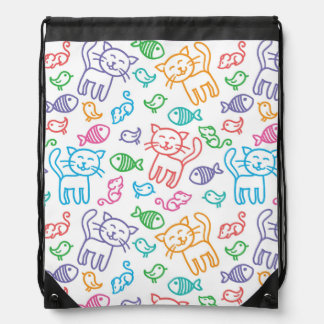 cat pattern drawstring bag