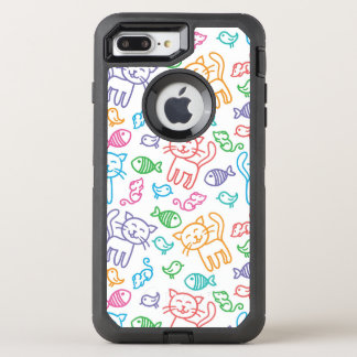 cat pattern OtterBox defender iPhone 7 plus case
