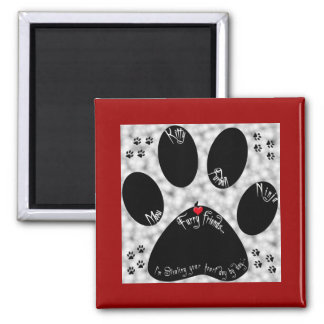 Cat Paw Artwork Square Magnet
