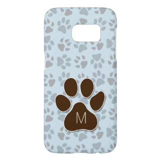 Cat Paw in Brown with Soft Blue and Monogram