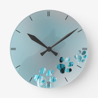 Cat Paw Light Blue Round Clock