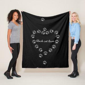 Cat Paw Print Heart Fleece Blanket Custom Text