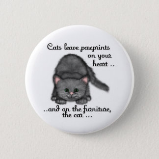 Cat paw prints 6 cm round badge